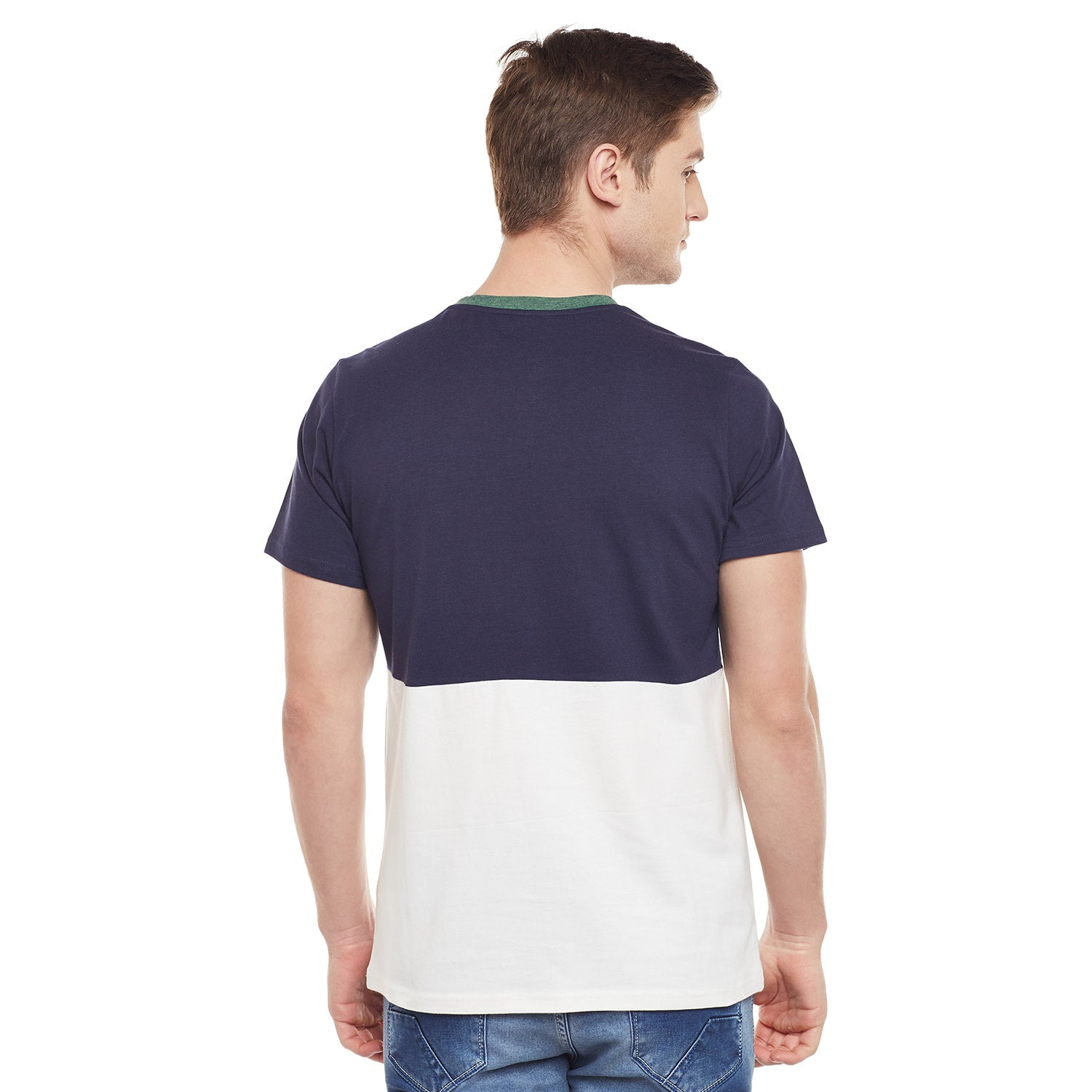Atorse Half Sleeve Cut N Sewn T-Shirt With Colour Blocking Details