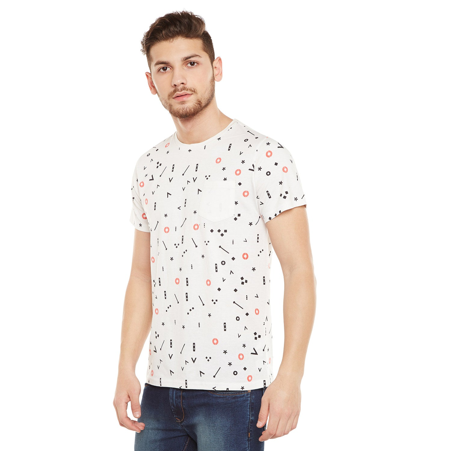 Atorse Mens Half Sleeves T-Shirt With Music Note Printed All