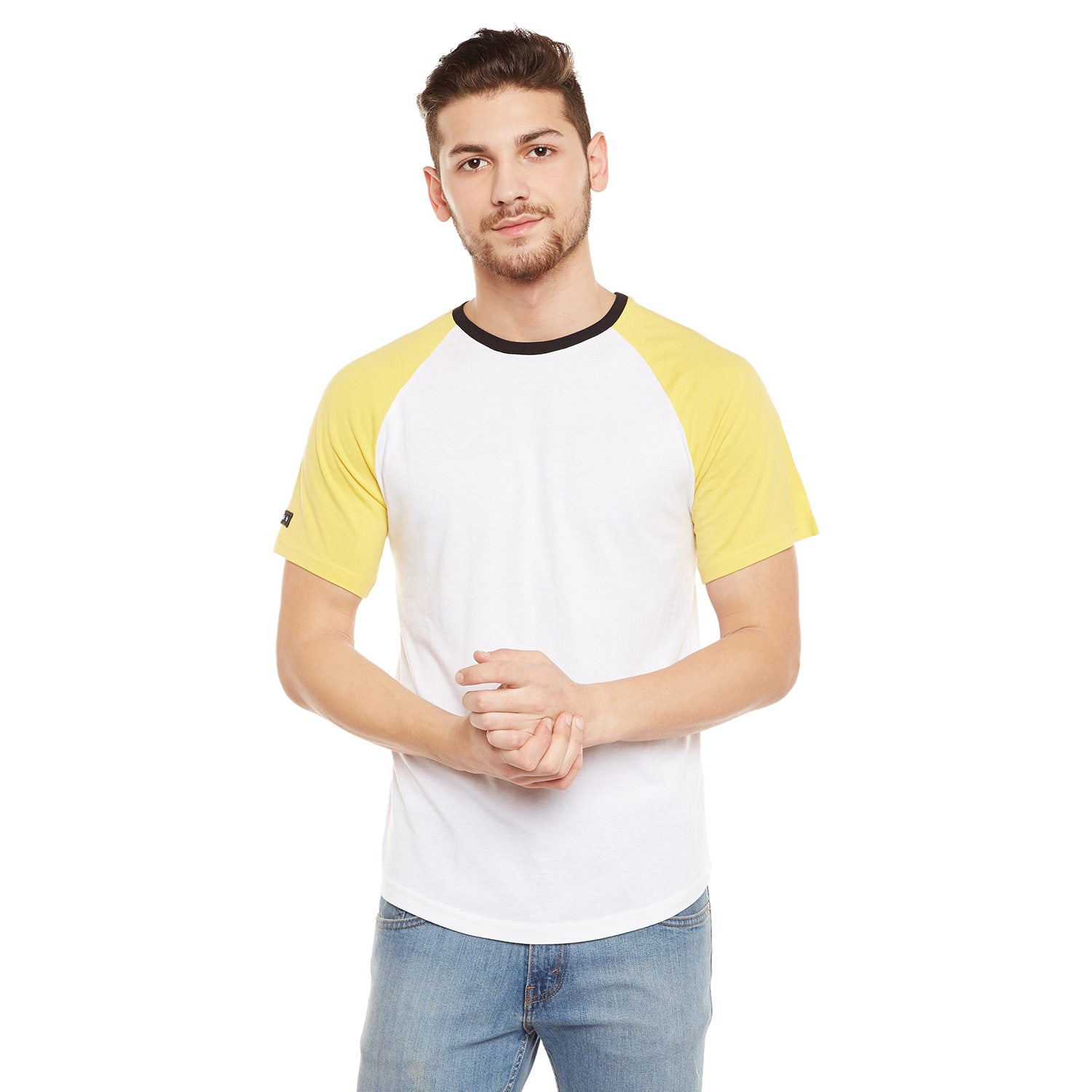 Atorse Mens Raglan Sleeves T-Shirt With Colour Block And Badge Detail