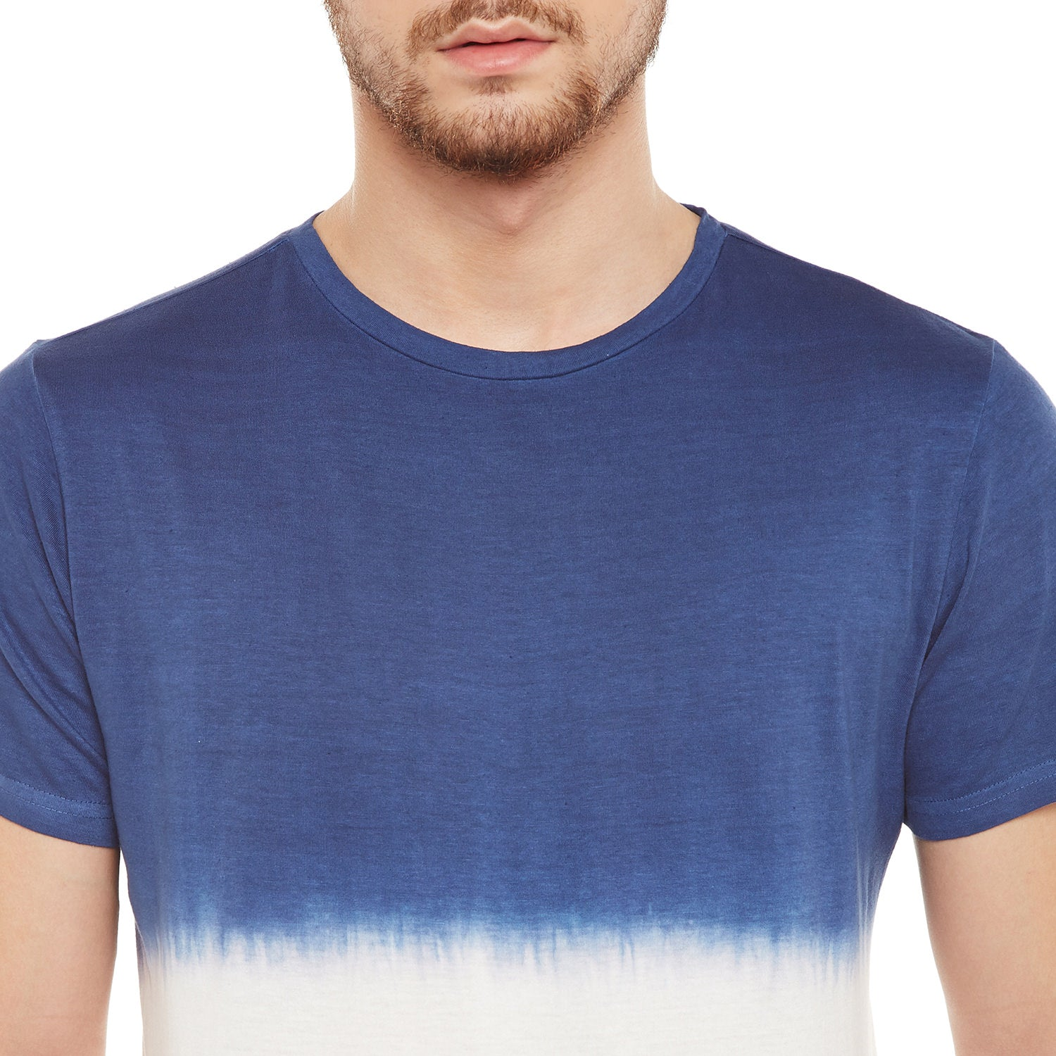 Atorse Mens Half Sleeves Navy/Multi T-Shirt With Ombre Effect