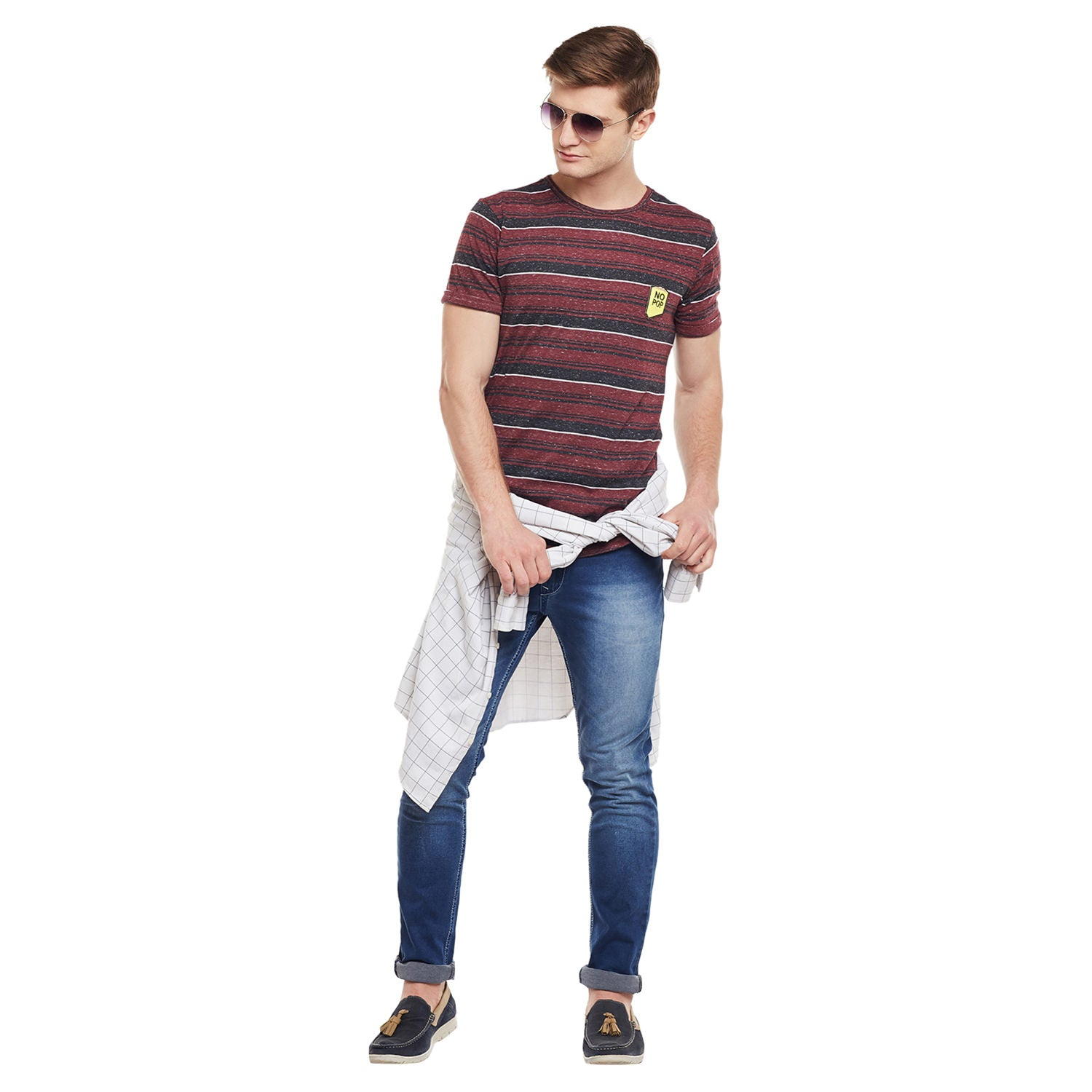 Atorse Mens Red And Black Striper Cotton T-Shirt With Regular Fit