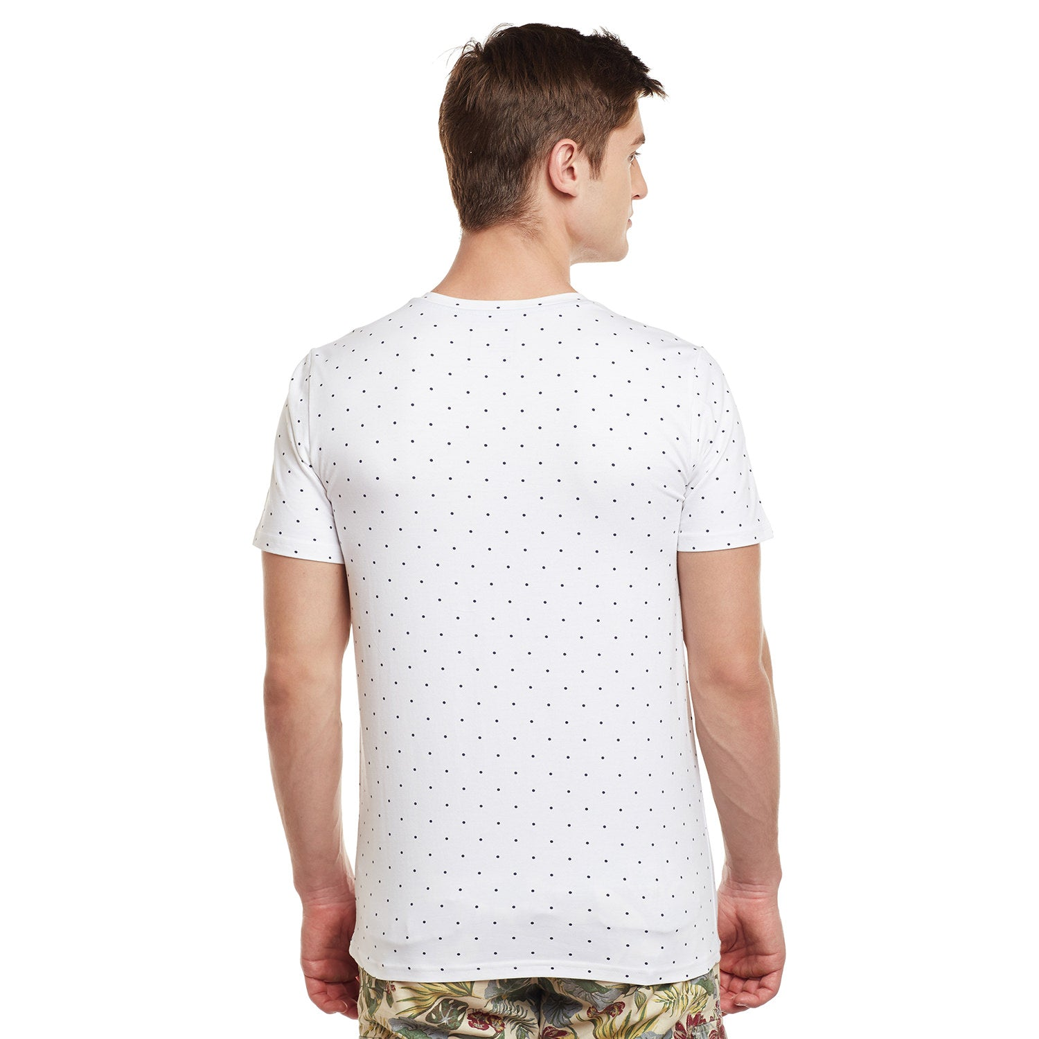 Atorse Mens Half Sleeve T-Shirt Polka Dot Printed With Colo