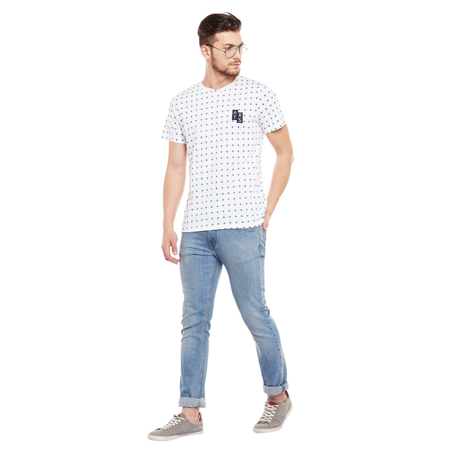Atorse Grey Striper Long Line T-Shirt With Regular Fit