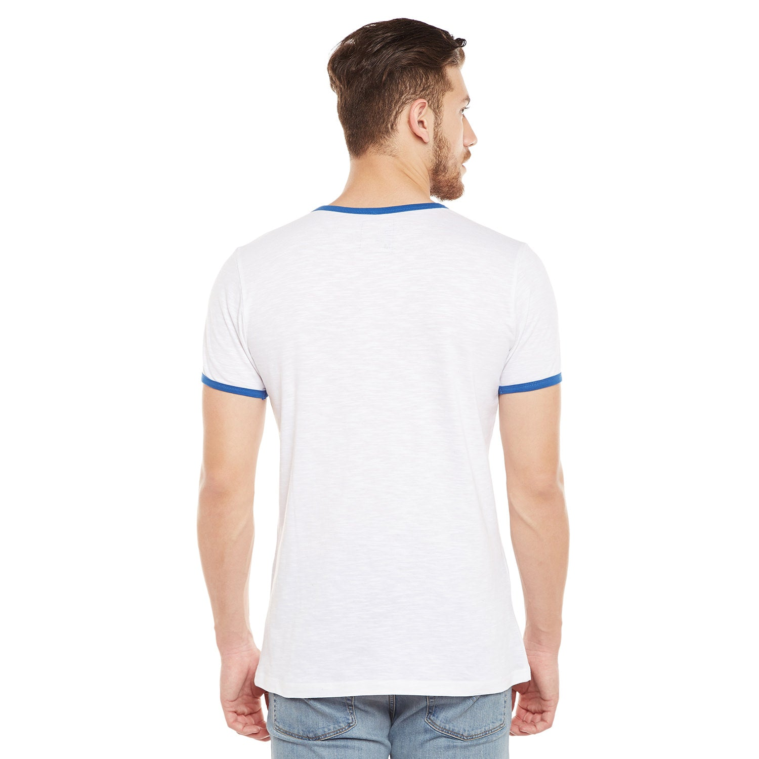 Atorse Mens White Cotton T-Shirt With Badges On Chest