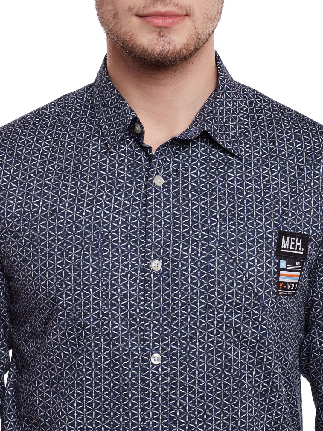 Atorse Printed Grey Shirt
