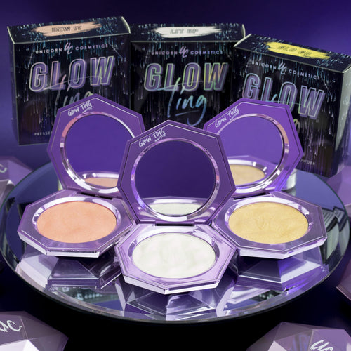 GLOW TING BUNDLE- All 3 Pressed Highlighters - Unicorn Cosmetics
