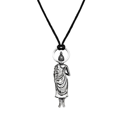 Alms Bowl Buddha Pendant in Silver | Wednesday Buddha - Buddha Jewelry - 2