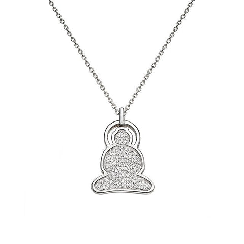 Buddha Necklace in Silver with Cubic Zirconia - Buddha Jewelry - 1