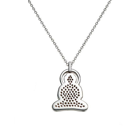 Buddha Necklace in Silver with Cubic Zirconia - Buddha Jewelry - 2