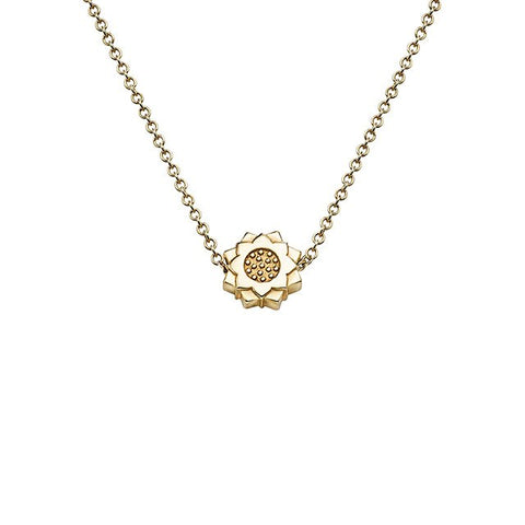 Lotus Flower Necklace in 18k Yellow Gold - Buddha Jewelry