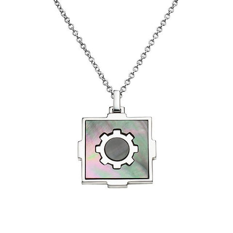 Sacred Mandala Necklace in 925 Silver and Mother of Pearl - Buddha Jewelry
