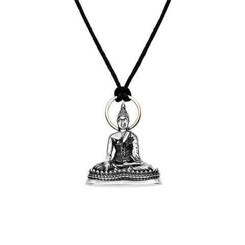 Meditating Buddha Pendant in Silver | Thursday Buddha - Buddha Jewelry - 1