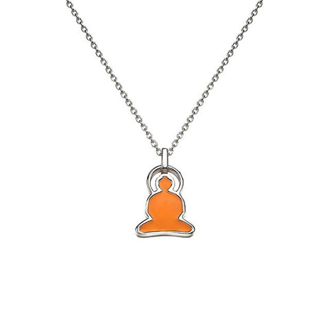 Reverso Buddha Necklace in Silver with Green and Orange Enamel - Buddha Jewelry - 1