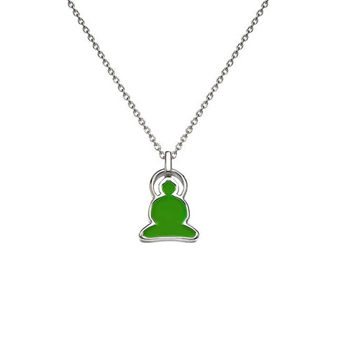 Reverso Buddha Necklace in Silver with Green and Orange Enamel - Buddha Jewelry - 2