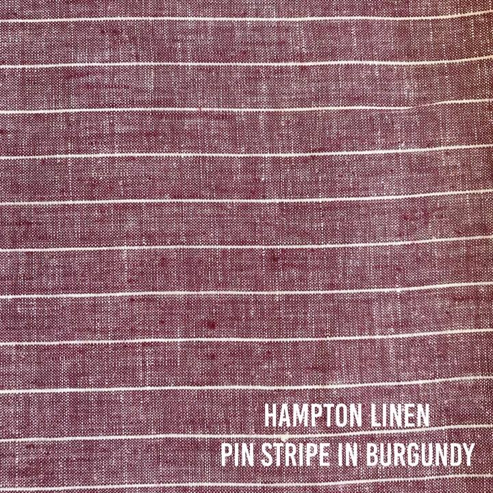 Hampton Linen Pin Stripe in Burgundy