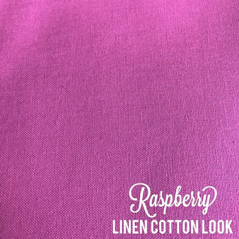 Raspberry - Linen Look Cotton