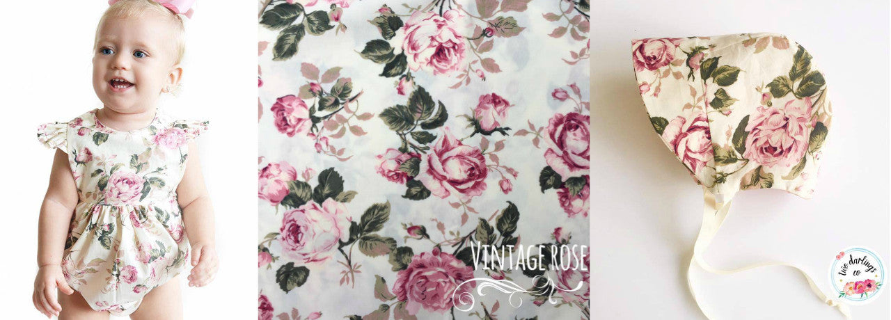 Vintage Roses Fabric Collage