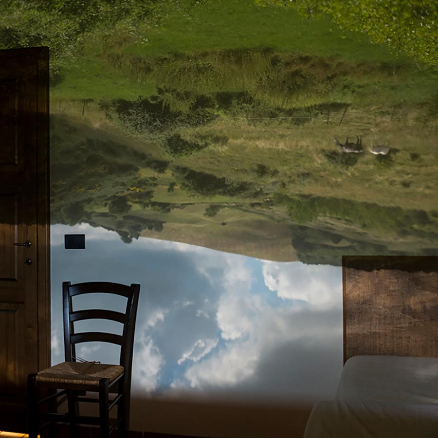 Bonfoton Camera Obscura room image from Tuscany, Italy with field and horses