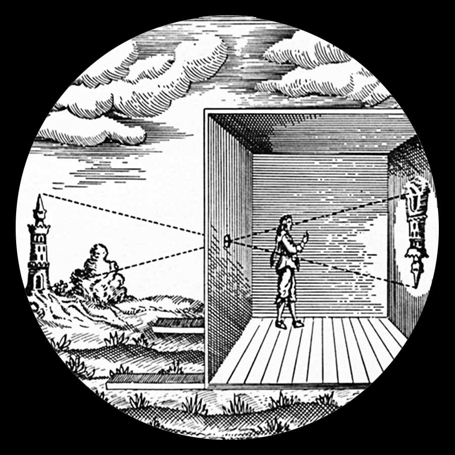 How the camera obscura works. Drawing from Athanasius Kircher's book Ars Magna (1646)