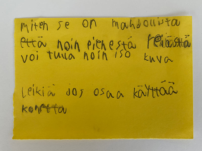 A fourth grade student comment about the Camera Obscura. How is it possible that so big image can come from so small hole