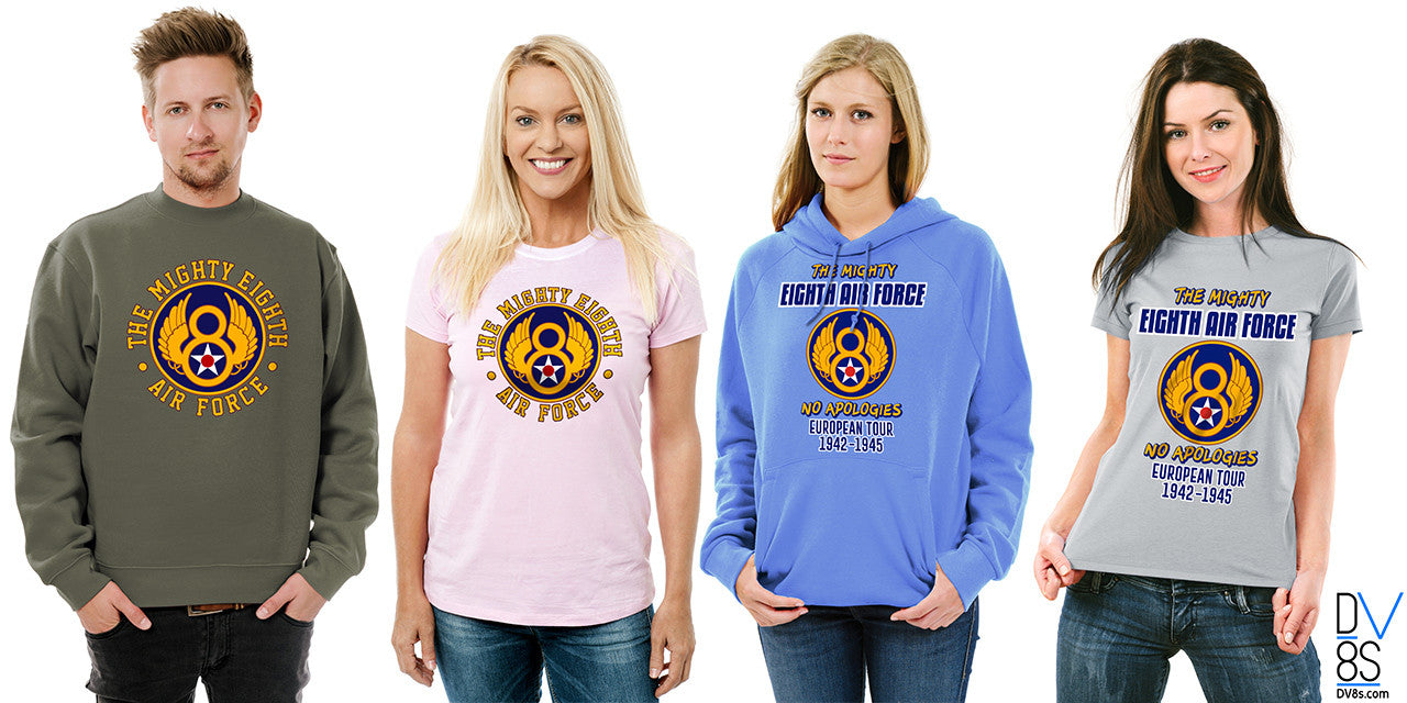 DV8s.com presents the Mighty Eighth Air Force Collection of T-Shirts, Tanks, Sweatshirts, and Hoodies.