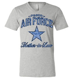 Proud Air Force Mother-in-Law Unisex V-Neck T-Shirt (Camo)