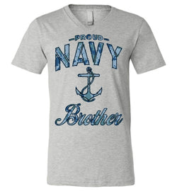 Proud Navy Brother Unisex V-Neck T-Shirt (Camo)