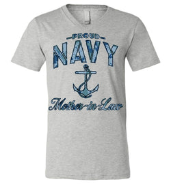 Proud Navy Mother-in-Law Unisex V-Neck T-Shirt (Camo)