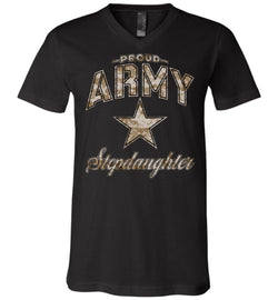 Proud Army Stepdaughter Camo Unisex V-Neck T-Shirt