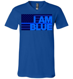 I AM BLUE Canvas Unisex V-Neck T-Shirt - by DV8s.com