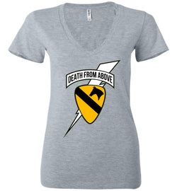 Death from Above - 1st Air Cav Army Bella Ladies Deep V-Neck T-Shirt - by DV8s.com