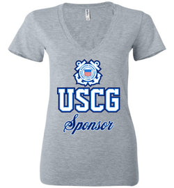 USCG Coast Guard Sponsor Women's Deep V-Neck T-Shirt