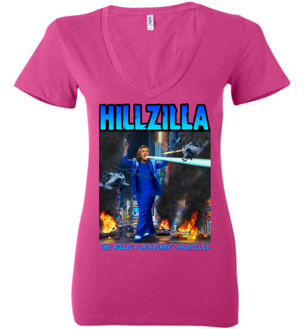 Anti-Hillary Hillzilla Bella Ladies Deep V-Neck Tee - by DV8s.com