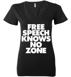 Free Speech Knows No Zone Bella Ladies Deep V-Neck Tee - by DV8s.com