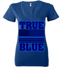 TRUE BLUE Women's Deep V-Neck Tee