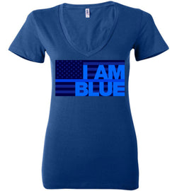 I AM BLUE Women's Deep V-Neck Tee