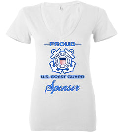 Proud U.S. Coast Guard Sponsor Women's Deep V-Neck T-Shirt
