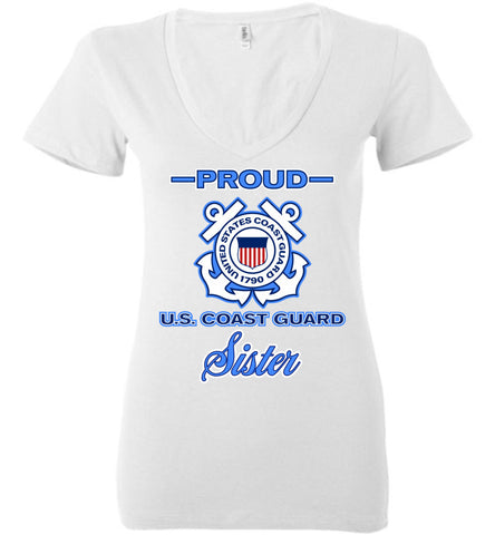 Proud US Coast Guard Sister Women's Deep V-Neck Tee