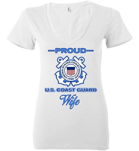 Proud U.S. Coast Guard Wife Women's Deep V-Neck Tee