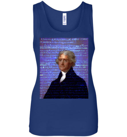Jefferson's Declaration of Independence Bella Ladies Wide Strap Tank - by DV8s.com