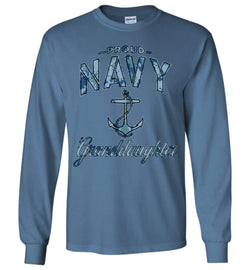 Proud Navy Granddaughter Long-Sleeve T-Shirt (Camo)