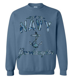 Proud Navy Granddaughter Sweatshirt (Camo)