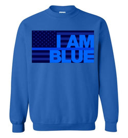 I AM BLUE Gildan Crewneck Sweatshirt - by DV8s.com