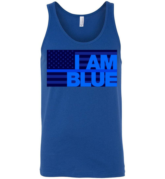 I AM BLUE Canvas Unisex Tank - by DV8s.com