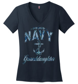 Proud Navy Granddaughter Women's V-Neck T-Shirt (Camo)