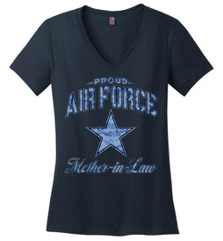 Proud Air Force Mother-in-Law Women's V-Neck T-Shirt (Camo)