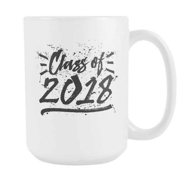 Class of 2018 Ink-Splattered Coffee Mug (Black Design on White Cup)