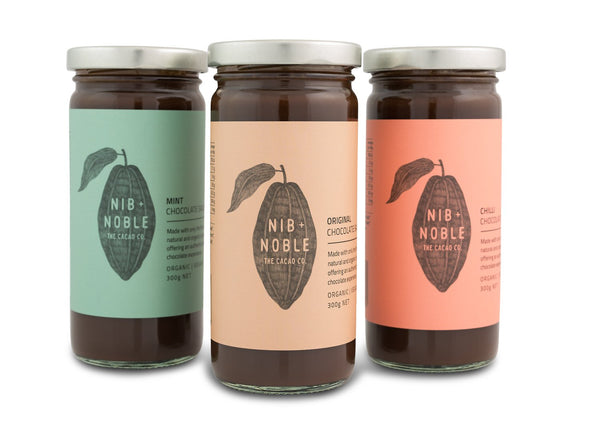 Organic Chocolate Sauce In Original, Mint and Chilli - By Nib & Noble Australia