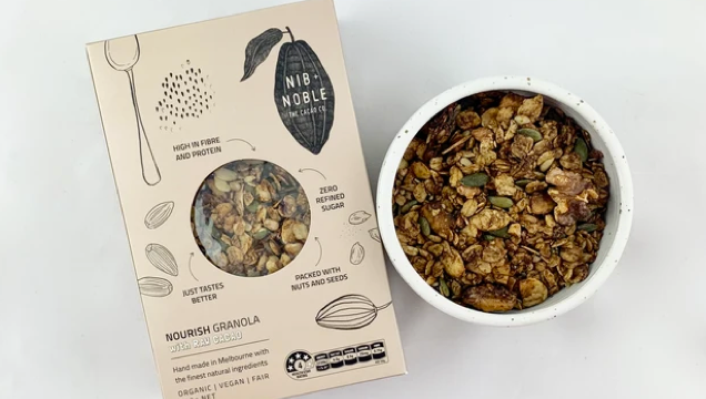 organic nourish granola breakfast muesli. Zero Unrefined Sugar, High in Fibre, packed with nuts and seeds
