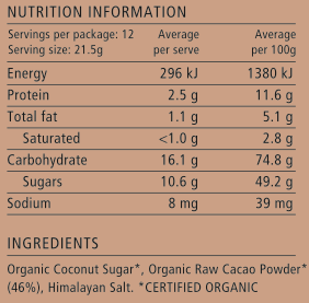 Nib and Noble Organic Original Drinking Chocolate Nutrition